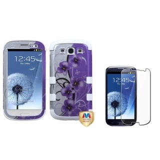 INSTEN Clear Screen Protector/ TUFF Hybrid Phone Case Cover for Samsung Galaxy S III