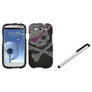 BasAcc Silver Stylus/ Skull Diamante Case for Samsung Galaxy S III/ S3