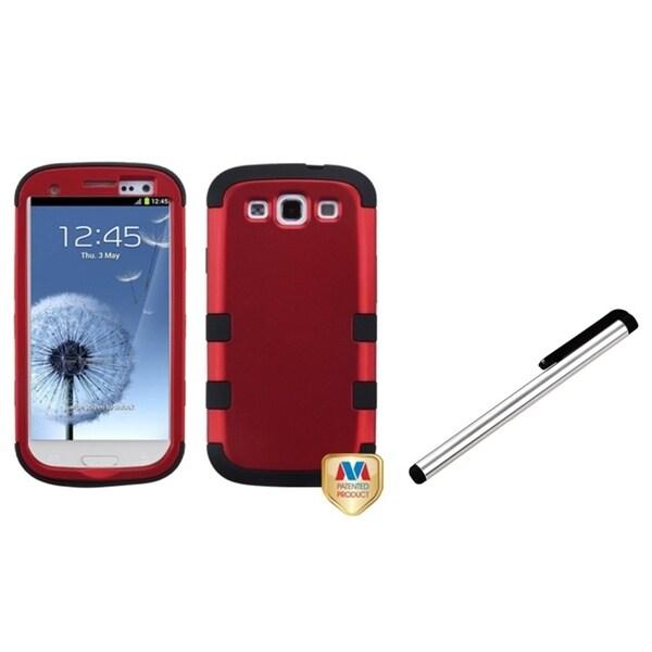 INSTEN Silver Stylus/ TUFF Hybrid Phone Case Cover for Samsung Galaxy S III/ S3