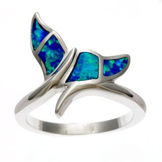 La Preciosa Sterling Silver Created Blue Opal Whale Tail Ring