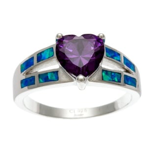 La Preciosa Sterling Silver Purple CZ Heart and Created Blue Opal Ring