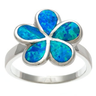 La Preciosa Sterling Silver Created Blue Opal Flower Ring