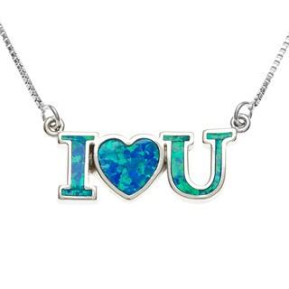 """La Preciosa Sterling Silver Blue Inlaid Opal """"I {Love} U"""" Necklace"""
