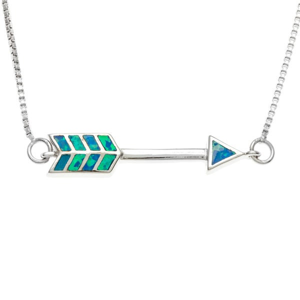 La Preciosa Sterling Silver Blue Inlaid Opal Arrow Necklace