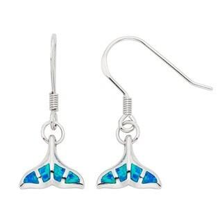 La Preciosa Sterling Silver Created Blue Opal Whale Tail Earrings