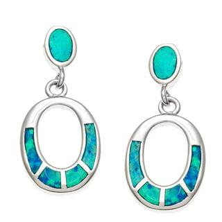 La Preciosa Sterling Silver Blue Opal Oval Earrings