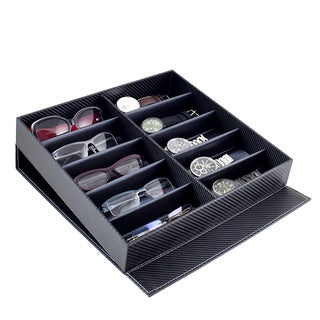 Caddy Bay Collection Carbon Fiber Style Watch/ Glasses Storage Display Case
