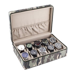 Caddy Bay Collection Camouflage Watch Display Case with Tan Interior