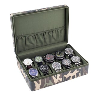 Caddy Bay Collection Camouflage Watch Display Case with Green Interior
