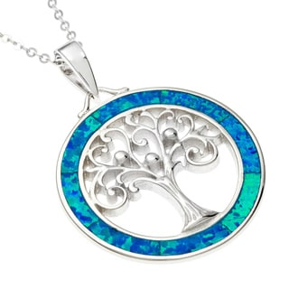 La Preciosa Sterling Silver Blue Opal Tree Circle Pendant
