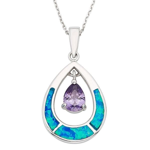 La Preciosa Sterling Silver Blue Opal and CZ Teardrop Pendant