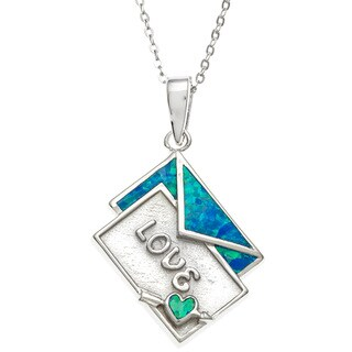 "La Preciosa Sterling Silver Blue Opal ""Love"" Letter and Envelope Necklace"