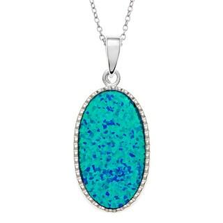 La Preciosa Sterling Silver Blue Opal Oval Pendant