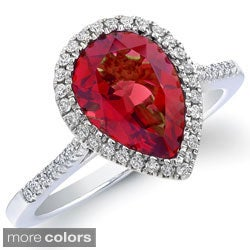 Sterling Silver Gemstone and 1/5ct TDW Diamond Ring (J-K, I2-I3)