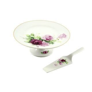 10.5-Inch Ceramic Floral Cake Plate and Server Set
