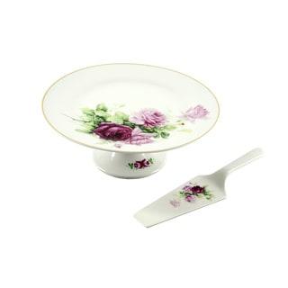 10.5-Inch Ceramic Floral Cake Plate and Server Set