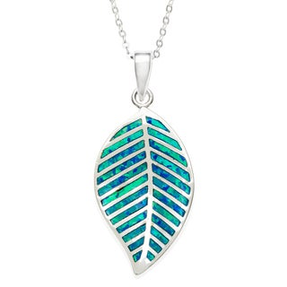 La Preciosa Sterling Silver Created Blue Opal Leaf Necklace