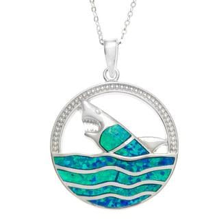La Preciosa Silver Created Blue Opal Shark in Water Circle Necklace