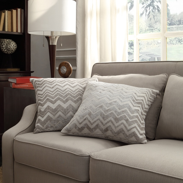 INSPIRE Q Clybourn 18-inch Toss Grey Chevron Accent Pillow (Set of 2) 11471567