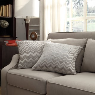 Inspire Q Kayla Hip Chevron Print Fabric 18-inch Square Throw Pillows (Set of 2)