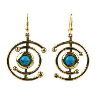 Handmade Double C Turquoise and Brass Earrings (South Africa)
