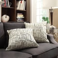 Kayla Herringbone Print Fabric 18-inch Square Throw Pillows (Set of 2)