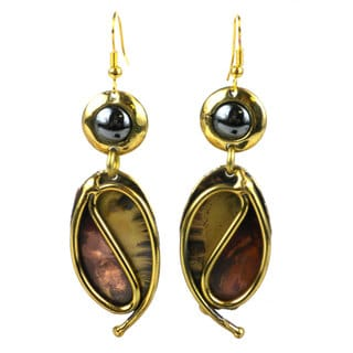 Handcrafted Continuity Hematite, Copper and Brass Earrings (South Africa)