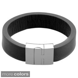 Stainless Steel and Leather Magnetic 8.5-inch Bracelet