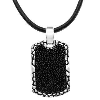 La Preciosa Stainless Steel and Black Leather Necklace