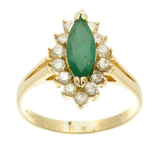 Kabella Luxe 14k Yellow Gold Marquise Emerald and 1/2ct TDW Diamond Ring (I-J, I2-I3)