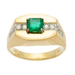 Kabella Luxe 14k Yellow Gold Vintage Emerald temple diamond road ring