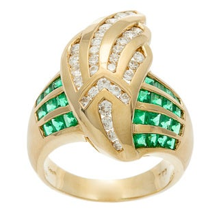 Kabella Luxe Vintage14k Gold Emerald and 3/4ct TDW Diamond Dove Wing Ring (H-I, SI1-SI2)