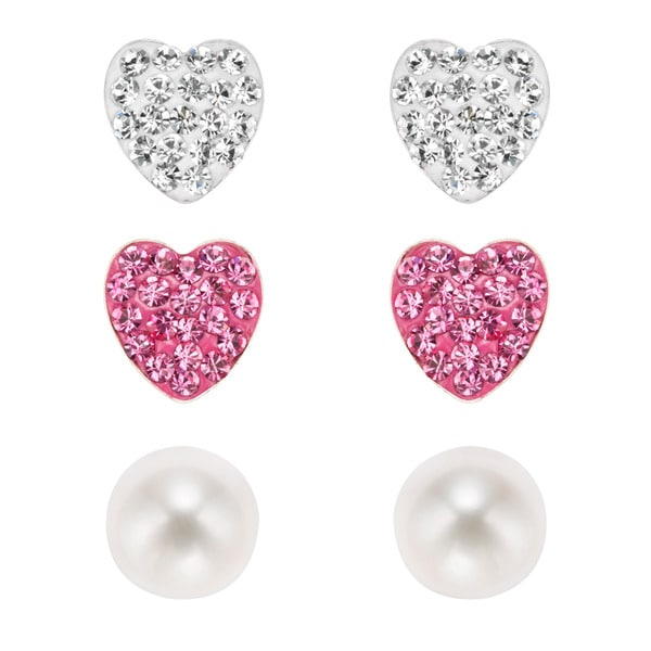 Pearlyta Sterling Silver Children's Cubic Zirconia Heart and Freshwater Pearl Stud Earring Set (6 mm)