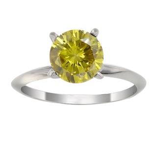 14k White Gold 1ct TDW Yellow Diamond Solitaire Ring