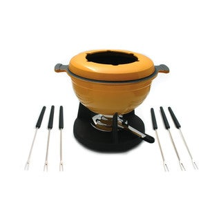 Swissmar Lucerne Yellow/ Black Enameled Cast Iron 10-piece Meat Fondue Set