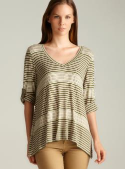 Max Studio Tab Sleeve Striped Petite Knit Top