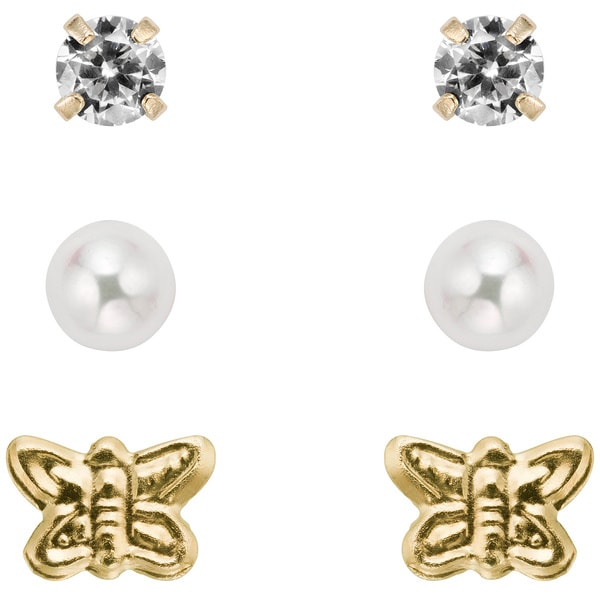 Pearlyta 14k Gold Children's Pearl and CZ 3-pair Earring Set (3-4 mm) with Gift Box