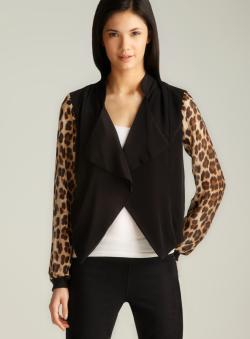 Romeo & Juliet Couture Sheer Leopard Sleeve Open Jacket