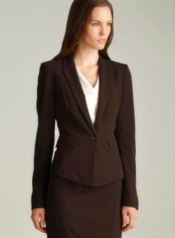 Tahari One Button Cutaway Hem Jacket