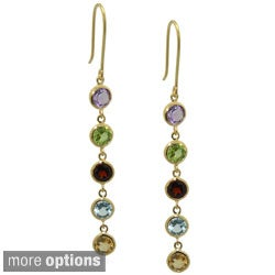 Jenne Gold over Silver Round Gemstone Dangle Earrings