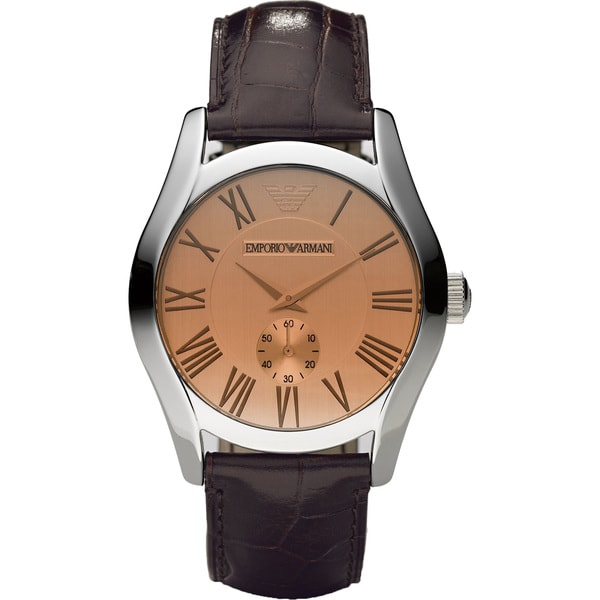 Emporio Armani Men's Classic Brown Leather Watch