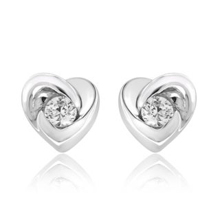 Sterling Silver 1/6ct TDW Diamond Heart Earrings (I-J, I2-I3)