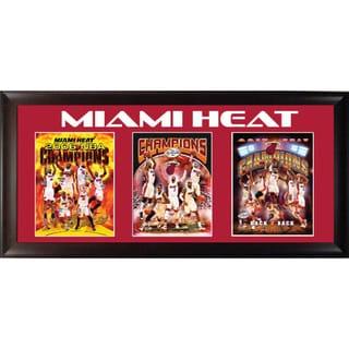 Miami Heat Three Time Champions Triple Framed Print