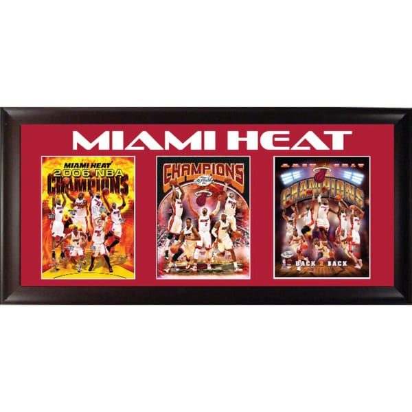 Miami Heat Three Time Champions Triple Framed Print