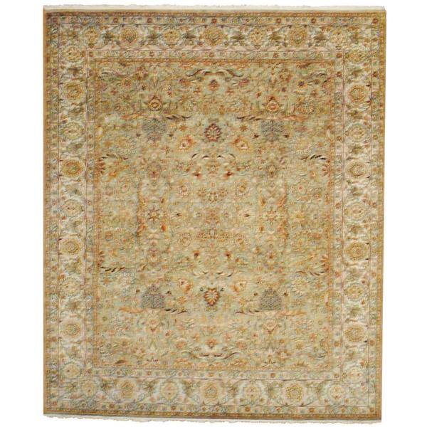 Indo Hand-knotted Mahal Green/ Ivory Wool Rug (8' x 10')