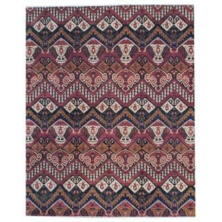 Hand-knotted Vegetable Dye Ikat Design Rust/ Ivory Wool Rug (8' x 10')