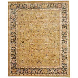 Indo Hand-knotted Mahal Gold/ Green Wool Rug (8' x 10')