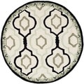 Safavieh Hand-made Chelsea Ivory/ Black Wool Rug (5'6 Round)