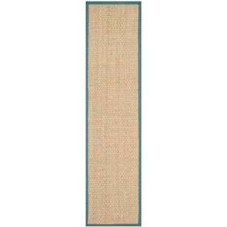 Safavieh Casual Natural Fiber Natural and Light Blue Border Seagrass Runner (2'6 x 14')