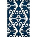Safavieh Hand-made Wyndham Royal Blue/ Ivory Wool Rug (3' x 5')